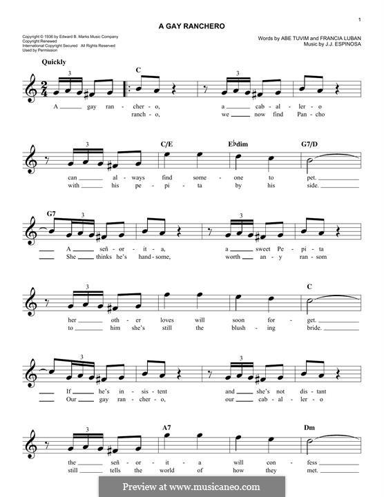 A Gay Ranchero: Мелодия by Abe Tuvim, Francia Luban, Juan Espinosa