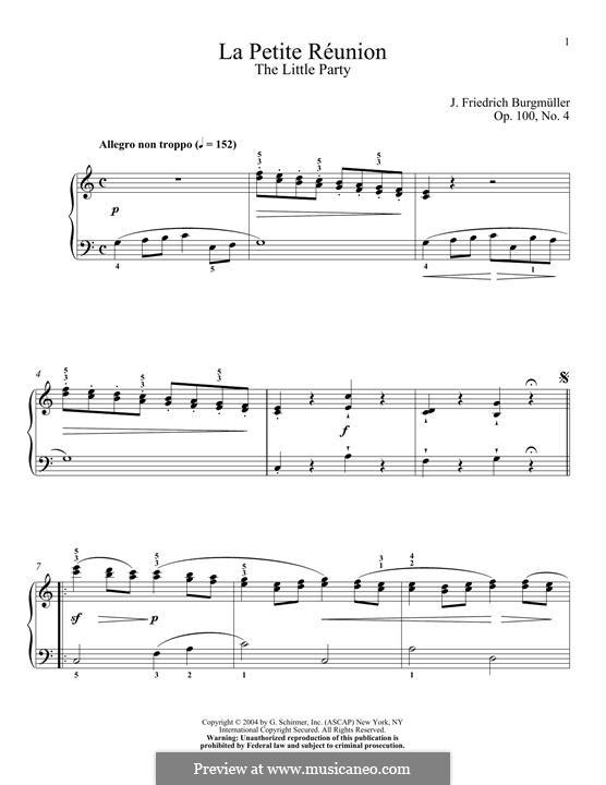 No.4 La Petite Réunion (Festive Gathering): Для фортепиано by Иоганн Фридрих Бургмюллер