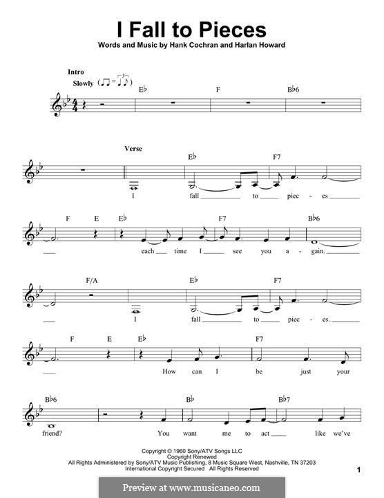 I Fall to Pieces (Patsy Cline): Мелодия by Hank Cochran, Harlan Howard