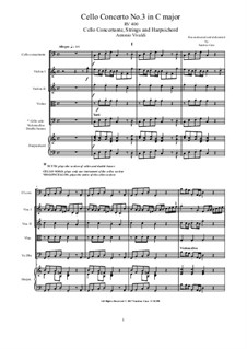 Concerto for Cello and Strings in C Major, RV 400: Score, parts by Антонио Вивальди