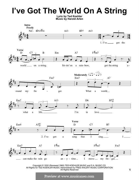 I've Got the World on a String: Мелодия by Harold Arlen