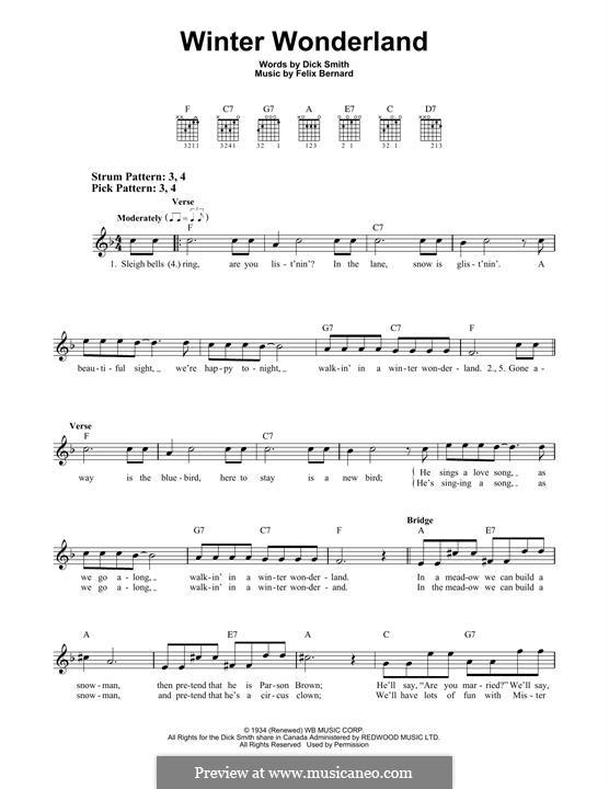 Winter Wonderland: Гитарная табулатура by Felix Bernard
