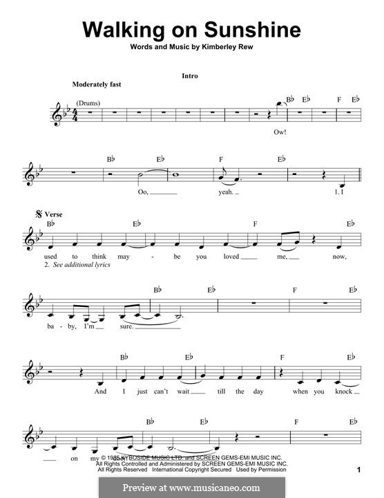 Walking on Sunshine (Katrina and The Waves): Мелодия by Kimberley Rew