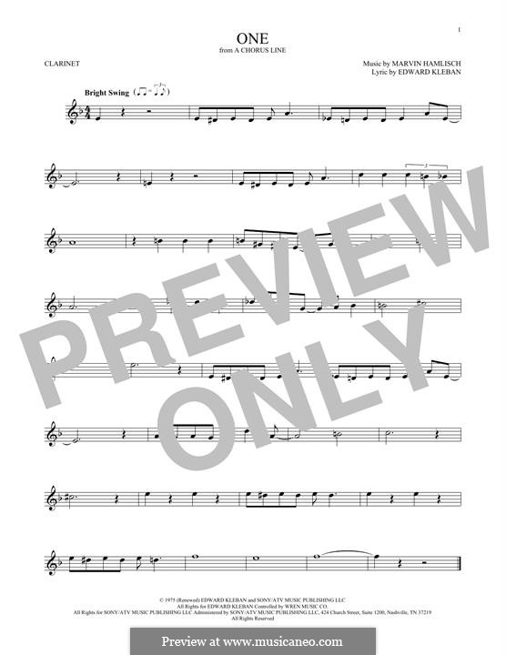 One (from A Chorus Line): Для кларнета by Marvin Hamlisch