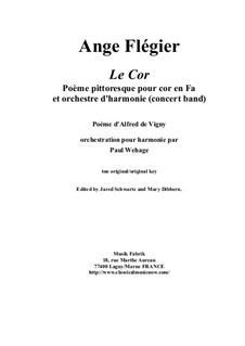 Le Cor: For solo horn and concert band, score and complete parts by Анж Флегье