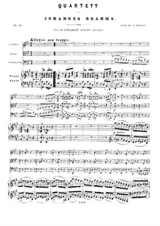 Фортепианный квартет No.2 ля мажор, Op.26: Партитура by Иоганнес Брамс