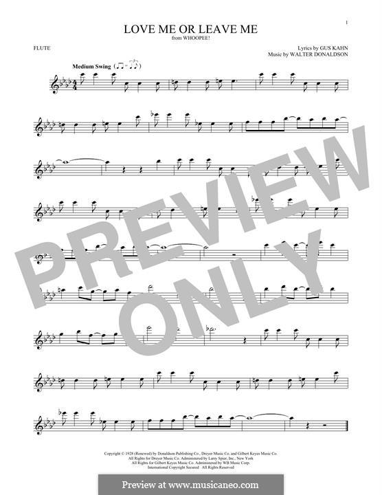 Love Me or Leave Me: Для флейты by Уолтер Дональдсон