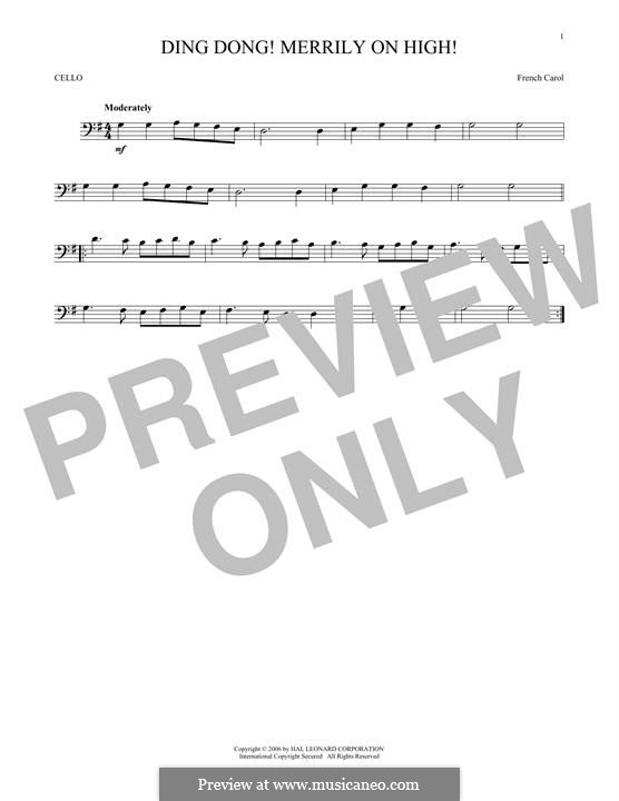 Ding Dong! Merrily on High (Printable Scores): Для виолончели by folklore