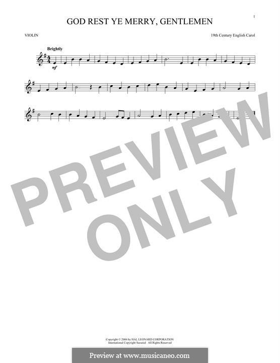 God Rest You Merry, Gentlemen (Printable Scores): Для скрипки by folklore