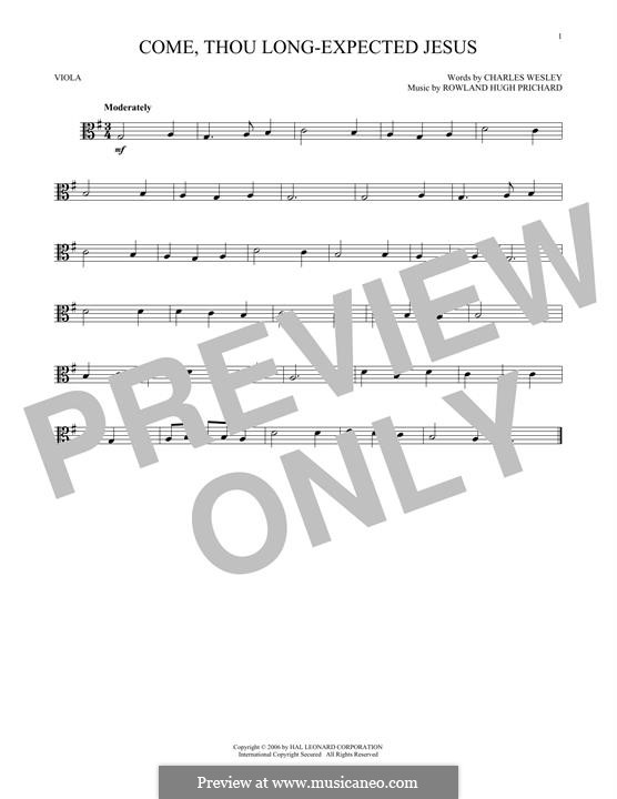 Come, Thou Long-Expected Jesus: For viola by Rowland Huw Prichard