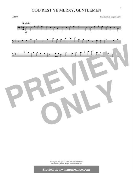 God Rest You Merry, Gentlemen (Printable Scores): Для виолончели by folklore