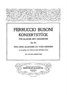 Концертштюк для фортепиано с оркестром, BV 236 Op.31a: Версия для 2 фортепиано в 4 руки – партия I фортепиано by Ферруччо Бузони