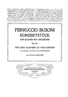Концертштюк для фортепиано с оркестром, BV 236 Op.31a: Версия для 2 фортепиано в 4 руки – партия II фортепиано by Ферруччо Бузони