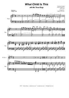 What Child is This with We Three Kings: Duet for Bb-trumpet by Unknown (works before 1850), John H. Hopkins Jr.