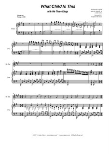 What Child is This with We Three Kings: Duet for Bb-trumpet and french horn by Unknown (works before 1850), John H. Hopkins Jr.