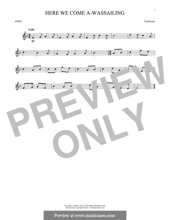 Here we Come a-Wassailing (Printable Scores): For horn by folklore