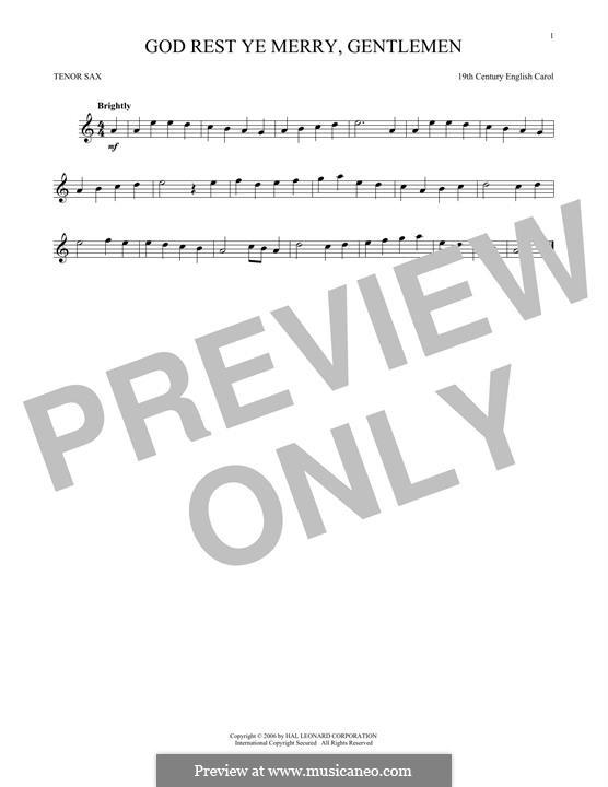 God Rest You Merry, Gentlemen (Printable Scores): Для тенорового саксофона by folklore