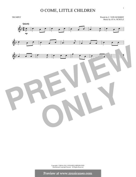 O Come, Little Children: Для трубы by Иоганн Авраам Шульц