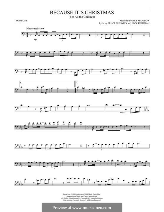 Because It's Christmas (For All the Children): For trombone by Barry Manilow