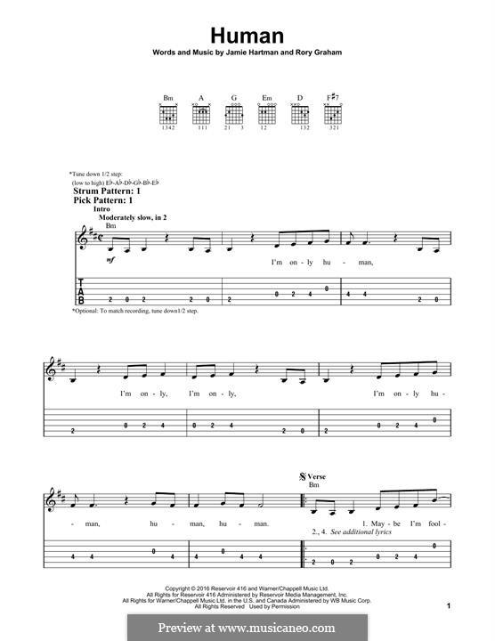 Human (Rag'n'Bone Man): Гитарная табулатура by Jamie Hartman, Rory Graham