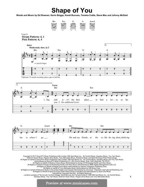 Shape of You: Гитарная табулатура by Ed Sheeran, Steve Mac, John McDaid
