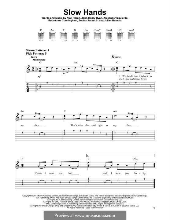 Slow Hands: Гитарная табулатура by Julian Bunetta, Ruth Anne Cunningham, Niall Horan, John Henry Ryan, Tobias Jesso, Alexander Izquierdo
