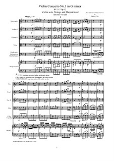 Concerto for Violin and Strings in G Minor, RV 317 Op.12 No.1: Score, parts by Антонио Вивальди