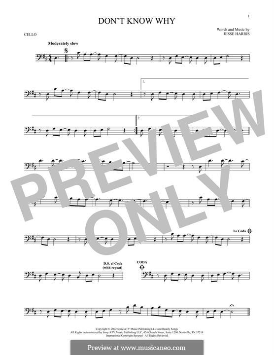 Don't Know Why (Norah Jones): Для виолончели by Jesse Harris