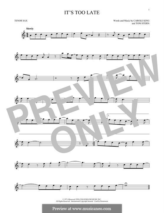 It's Too Late: Для тенорового саксофона by Carole King