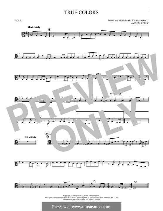 True Colors: For viola by Billy Steinberg, Tom Kelly