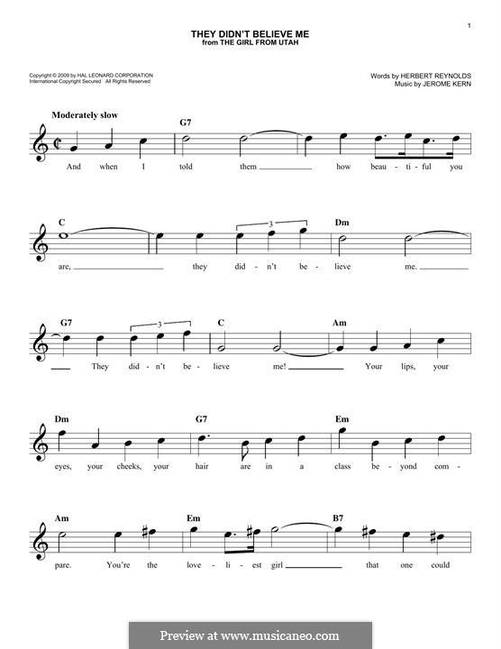 They didn't Believe Me: Мелодия by Джером Керн