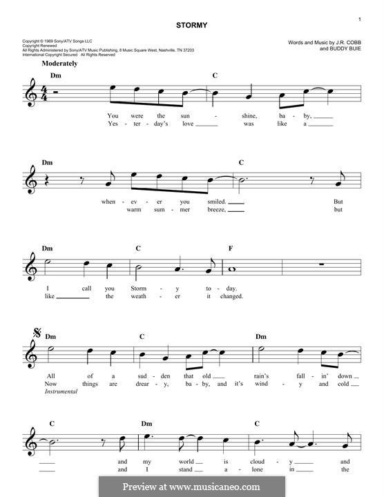 Stormy (Classics IV): Мелодия by Buddy Buie, J.R. Cobb
