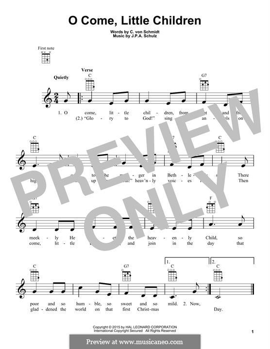 O Come, Little Children: Для укулеле by Иоганн Авраам Шульц