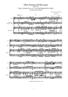 Соната для гобоя и клавесина си-бемоль мажор, HWV357: Score, parts by Георг Фридрих Гендель
