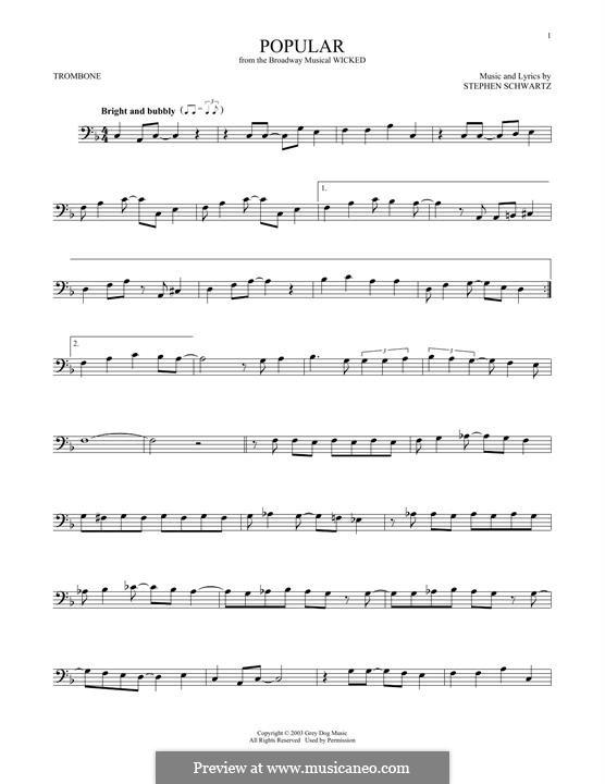 Popular (from Wicked): For trombone by Stephen Schwartz