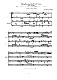 Sonata for Oboe, Continuo and Harpsichord or Piano No.8 in C Minor, HWV 366 Op.1: Партитура, сольная партия by Георг Фридрих Гендель