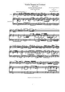 Violin Sonata in E minor for Violin and Harpsichord or Piano, BWV 1034r: Violin Sonata in E minor for Violin and Harpsichord or Piano by Иоганн Себастьян Бах