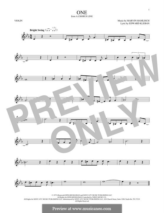 One (from A Chorus Line): Для скрипки by Marvin Hamlisch