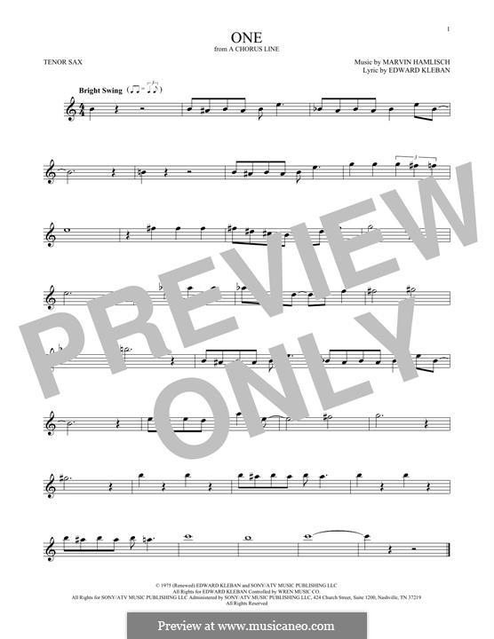 One (from A Chorus Line): Для тенорового саксофона by Marvin Hamlisch