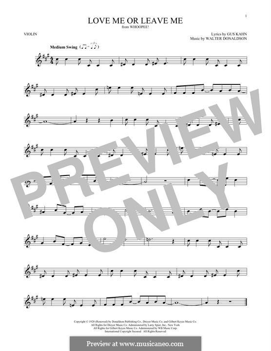 Love Me or Leave Me: Для скрипки by Уолтер Дональдсон