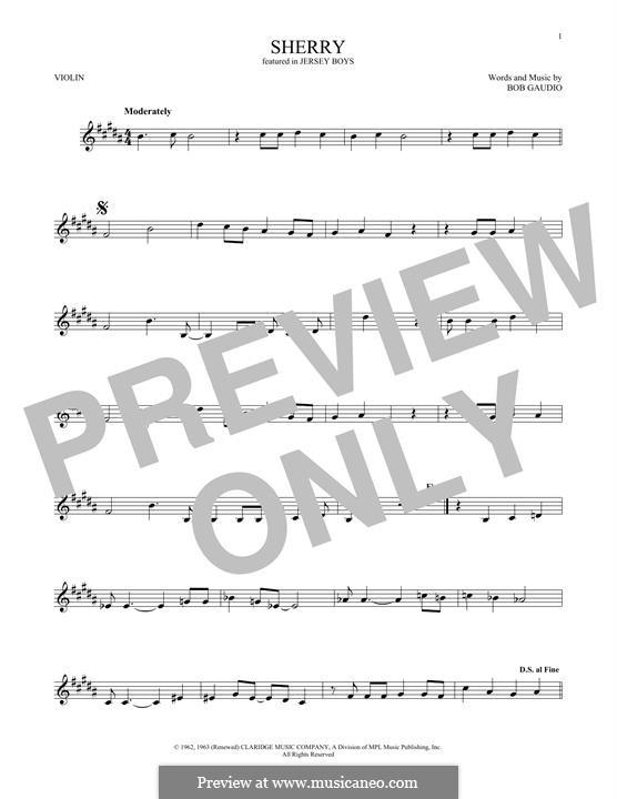 Sherry (The Four Seasons): Для скрипки by Bob Gaudio