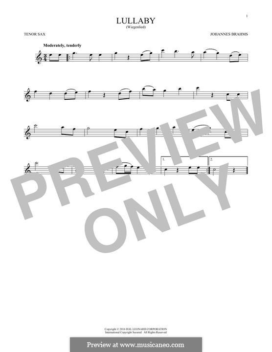 No.4 Колыбельная: Для тенорового саксофона by Иоганнес Брамс