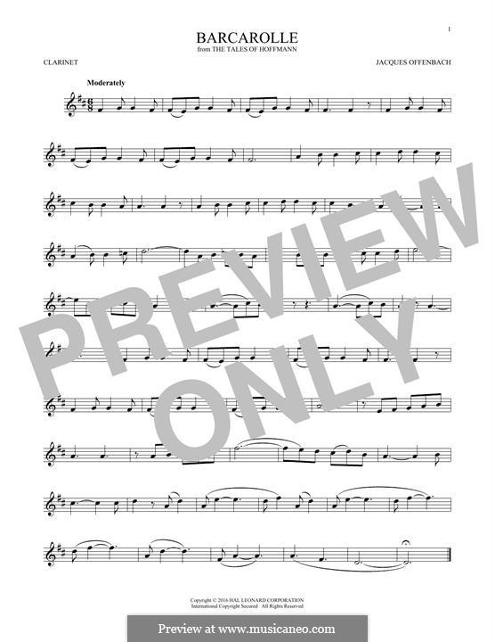 Баркарола: Version for clarinet by Жак Оффенбах