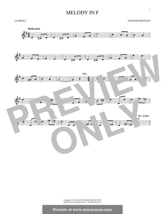Две мелодии, Op.3: Melody No.1, for clarinet by Антон Рубинштейн