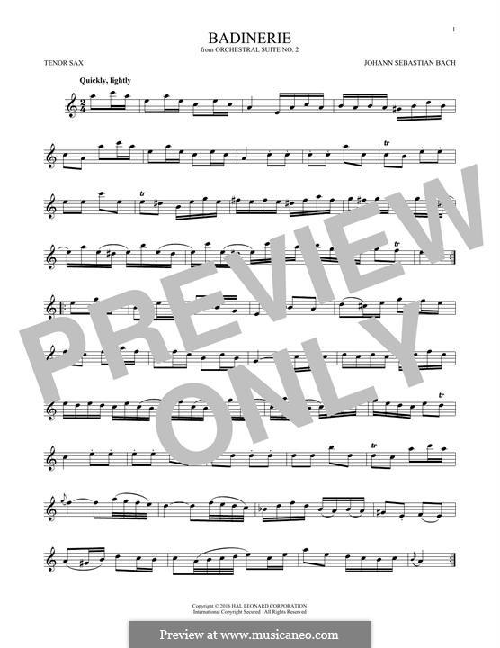 Сюита для оркестра No.2 си минор, BWV 1067: Badinerie. Version for tenor saxophone by Иоганн Себастьян Бах