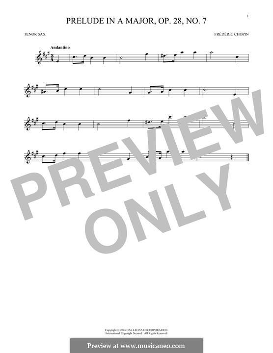 No.7 ля мажор: Для тенорового саксофона by Фредерик Шопен