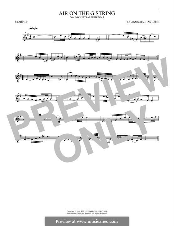 Aria (Printable Scores): Version for clarinet by Иоганн Себастьян Бах