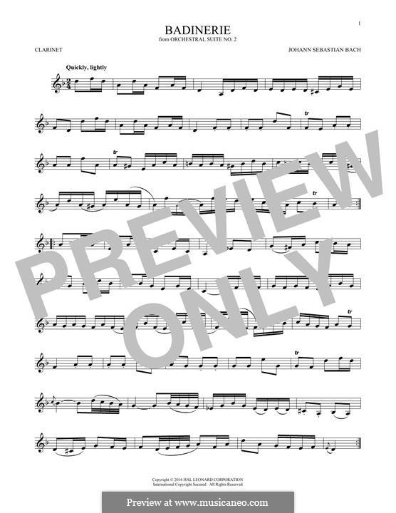Сюита для оркестра No.2 си минор, BWV 1067: Badinerie. Version for clarinet by Иоганн Себастьян Бах