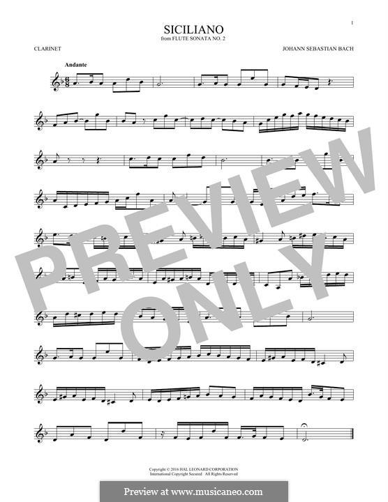 Соната для флейты и клавесина No.2 ми-бемоль мажор, BWV 1031: Siciliano. Arrangement for clarinet by Иоганн Себастьян Бах