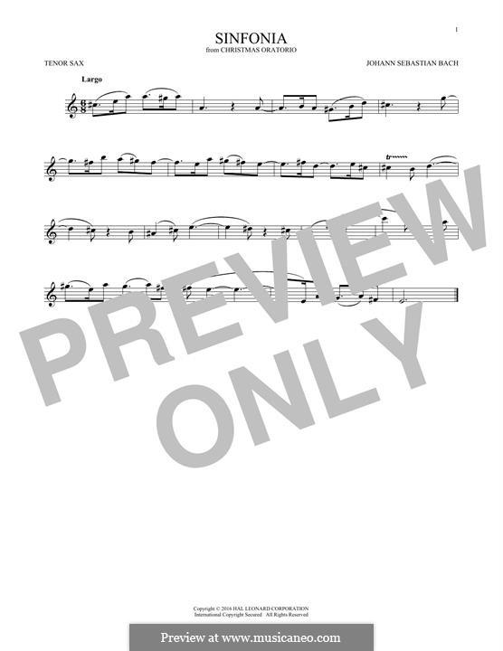Рождественская оратория, BWV 248: Sinfonia, for tenor saxophone by Иоганн Себастьян Бах